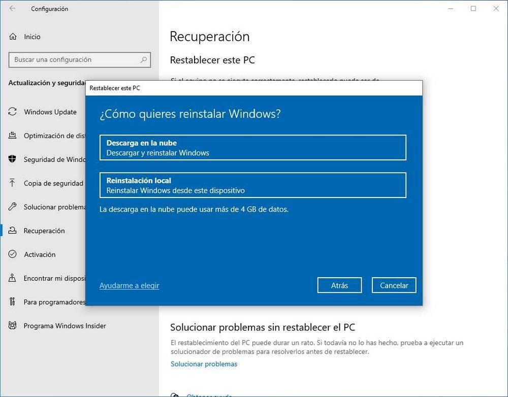 Restaurar Windows 10 desde la nube