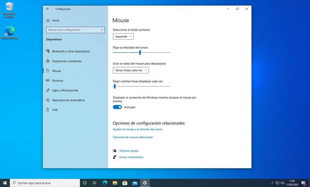 Sensibilidad del ratón en Windows 10 20H1