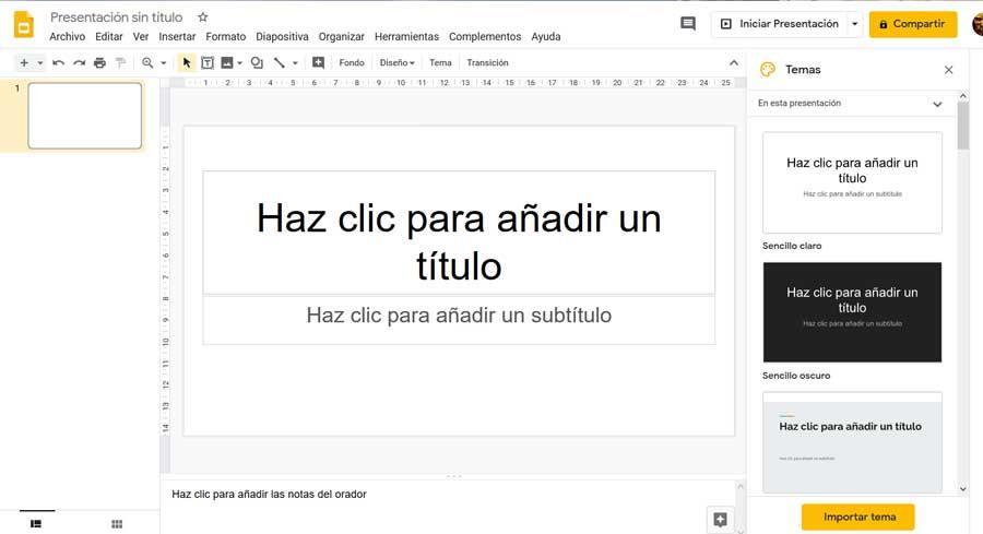 Interfaz de usuario de Google presentaciones