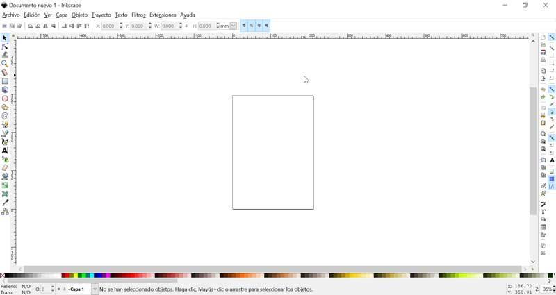 Menú principal de Inkscape