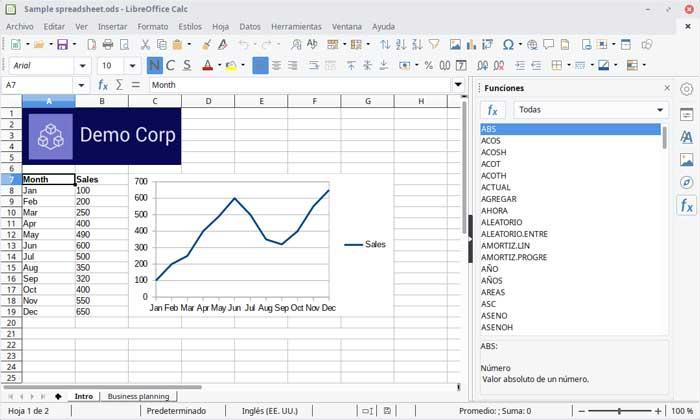 LibreOffice spreadsheet