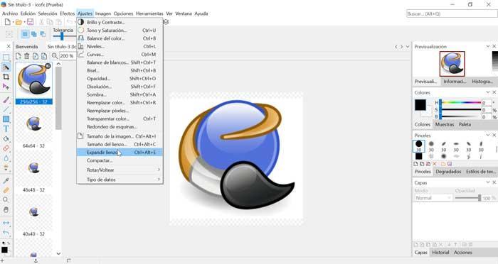 IcoFX pantalla de ajustes