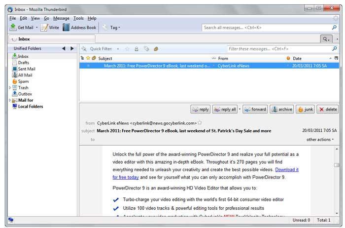 Mozilla Thunderbird, cliente de correo electrónico