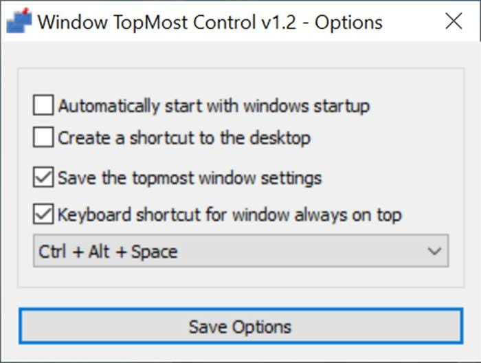 Panel de Opciones de Window TopMost Control