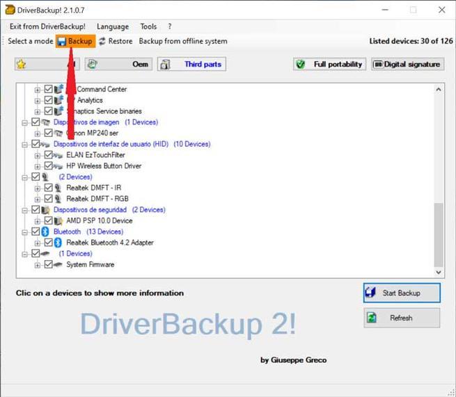 Pulsar en Backup