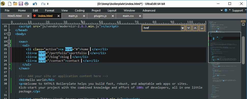 UltraEdit редактор текстовых сообщений