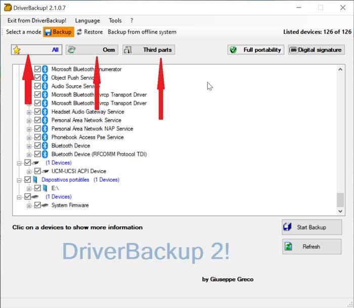 Filtrar drivers con DriverBackup!