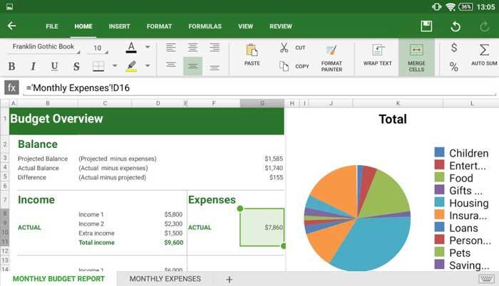 OfficeSuite spreadsheet