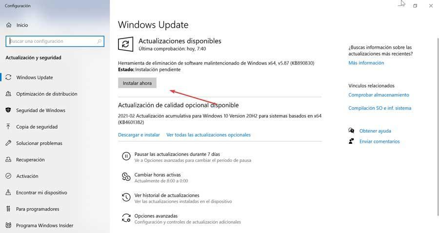 Actualizaciones pendientes de Windows Update