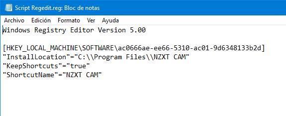 Archivo REG kopiorekisteri Windows
