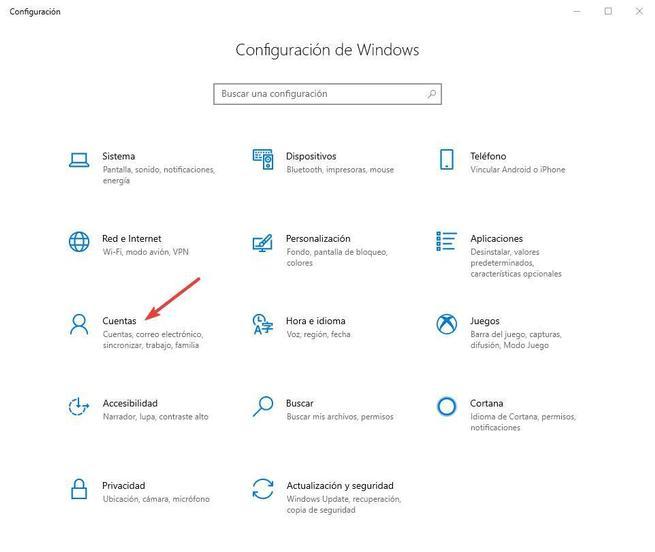 Configuración Cuentas Windows 10