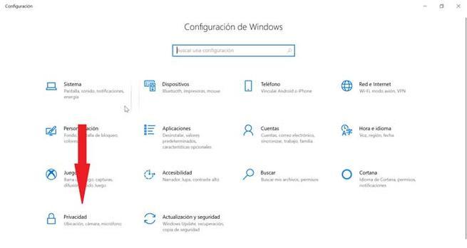 Configurare de Windows Privacidad