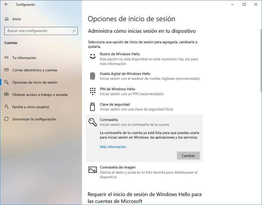 Configurar Windows Hello - Cambiar contraseña