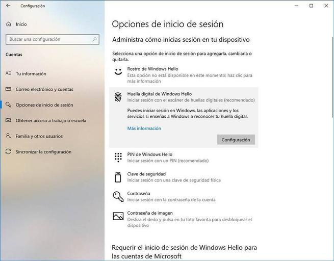 Configurar Windows Hello - Huella 1