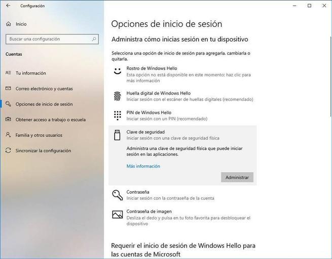 Configurar Windows Hello - Llave de seguridad 1