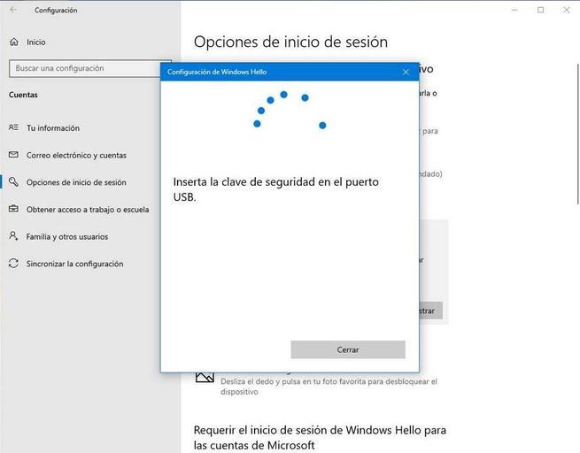 Configurar Windows Hello - Llave de seguridad 2