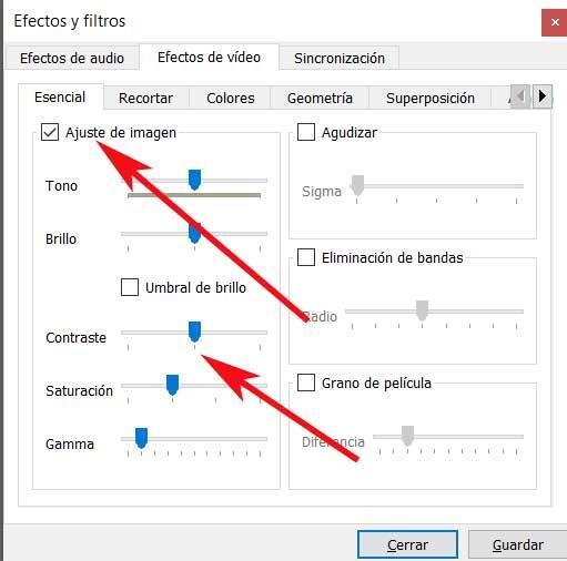Controles saturacion VLC
