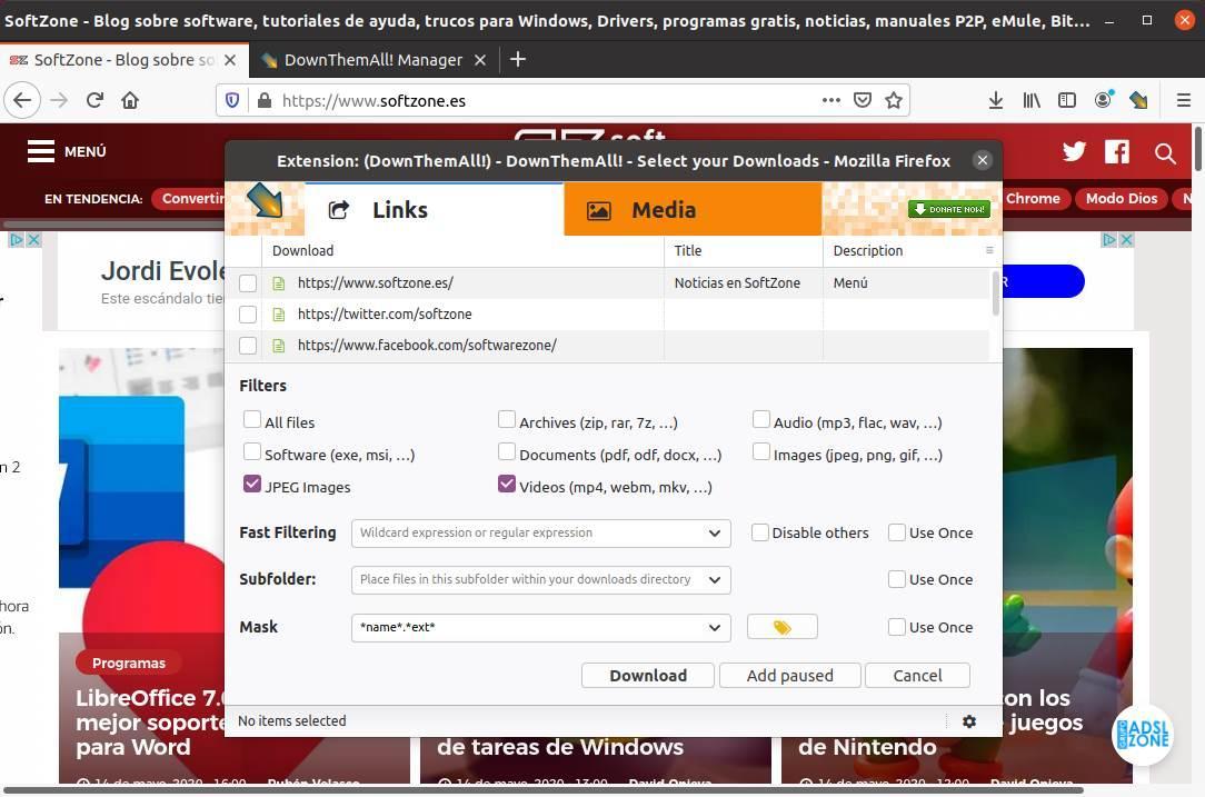 DownThemAll Firefox Ubuntu