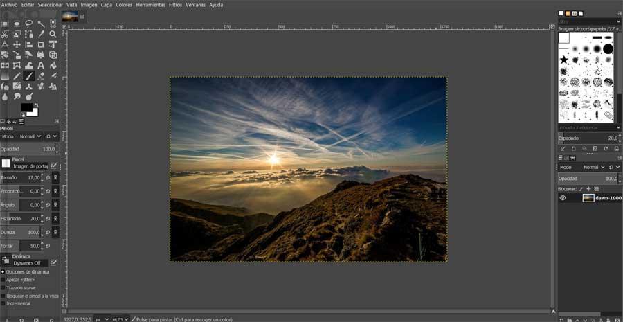 Interfaz principal GIMP