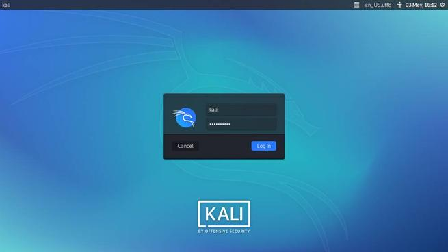 Kali Linux 2020.2 - Плазменный вход Dark