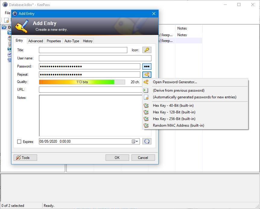 KeePass - Nueva contraseña para una entrada
