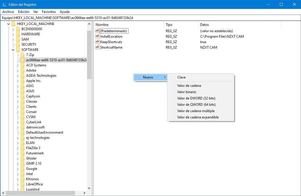 Nuevo valor tai Windows-rekisteri