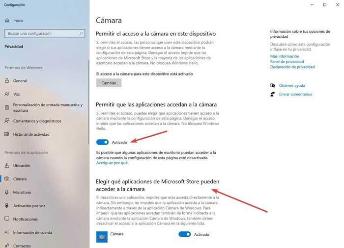 Opciones de cámara en Windows 10