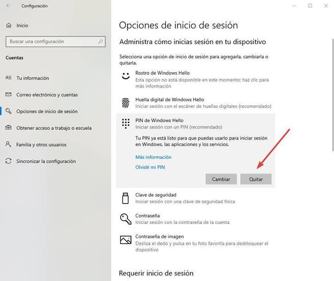 Quitar PIN Windows Hello