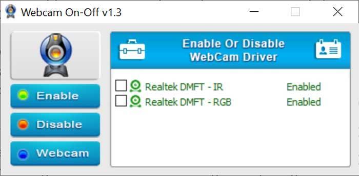 WebCam On-Off para apagar y encender la cámara