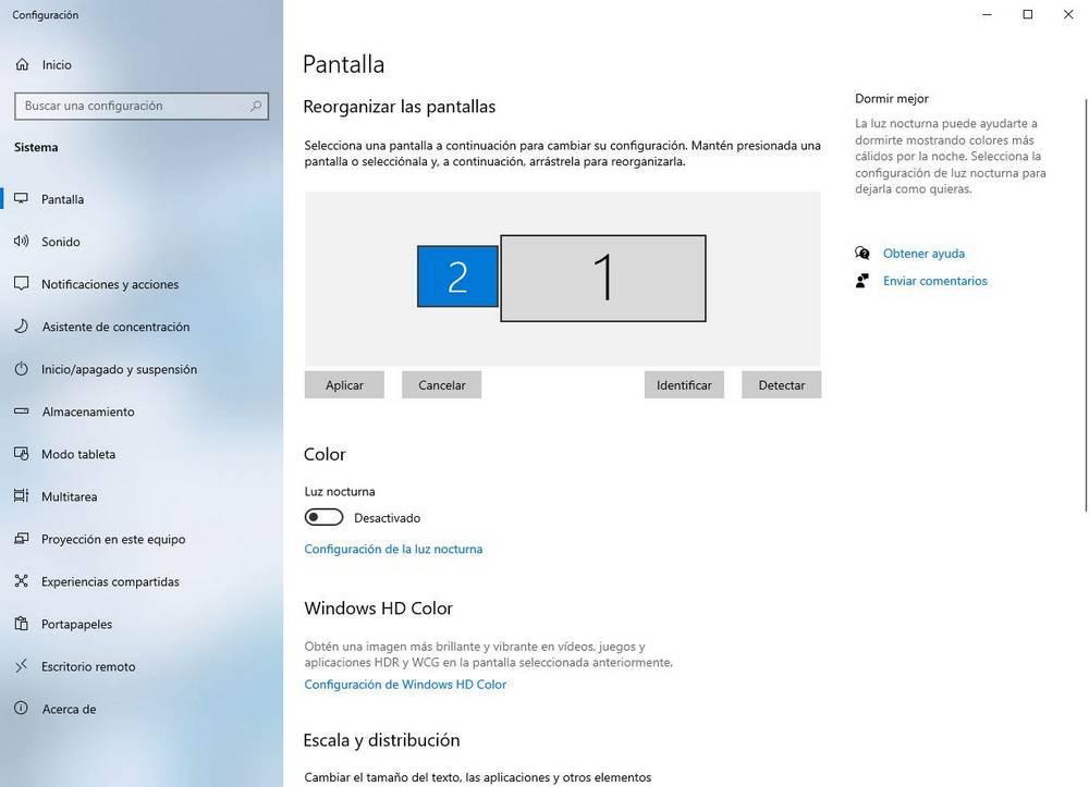 Windows 10 configuración dos monitores