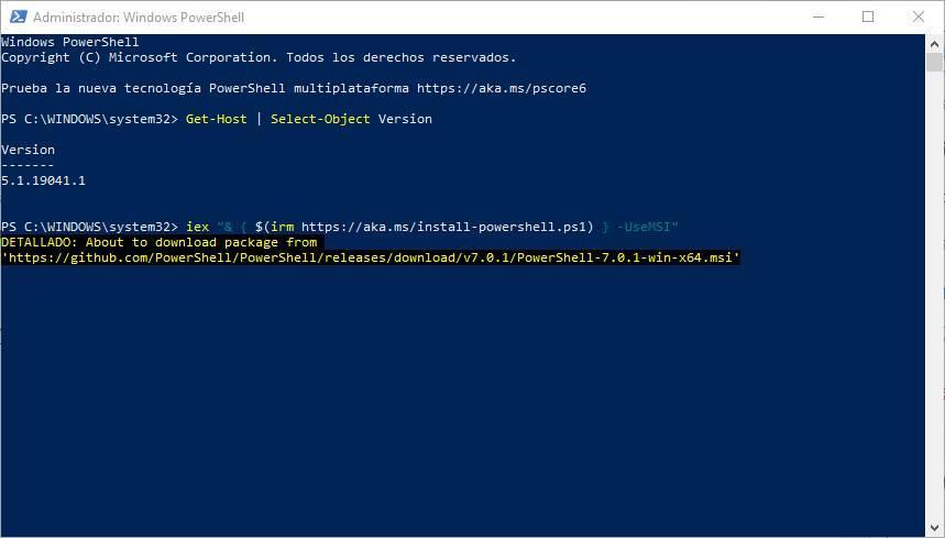 Actualizar PowerShell a la última versión