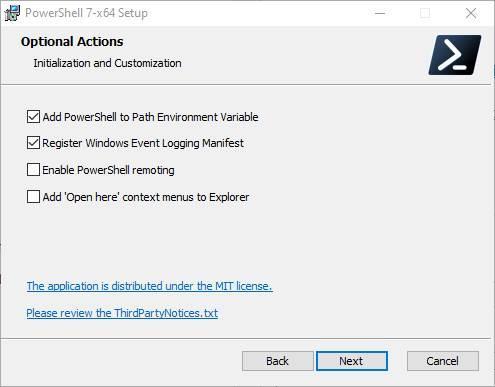 Asistente instalar PowerShell 2