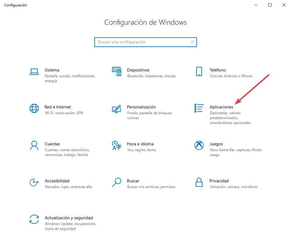 Configuración Aplicaciones W10