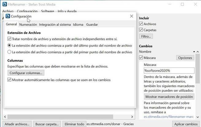 FileRenamer configuración general