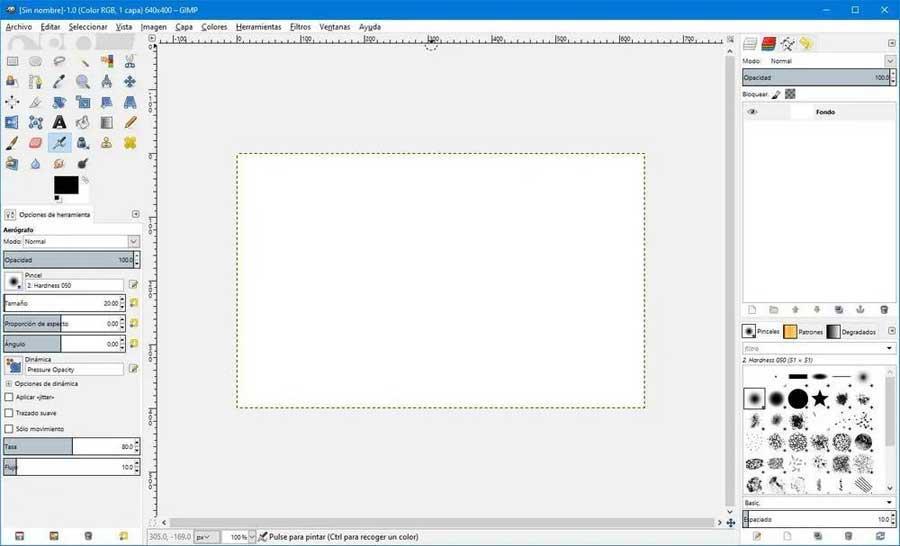 GIMP interfaz