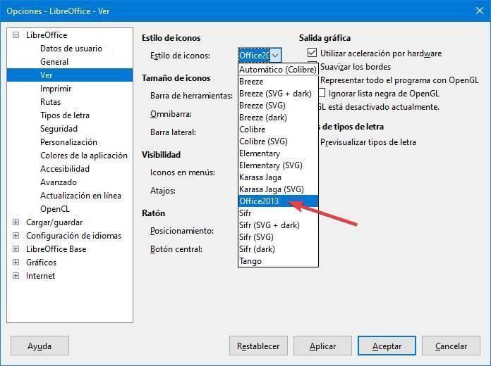 LibreOffice - Cambiar estilo de iconos