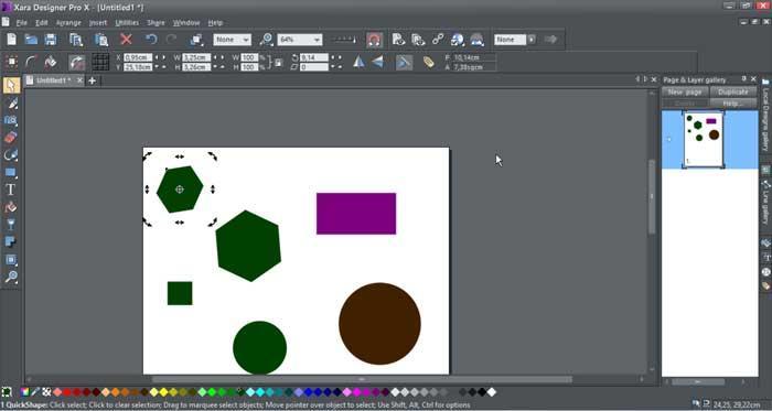 Xara Designer Pro X herramientas de objetos preestablecidas