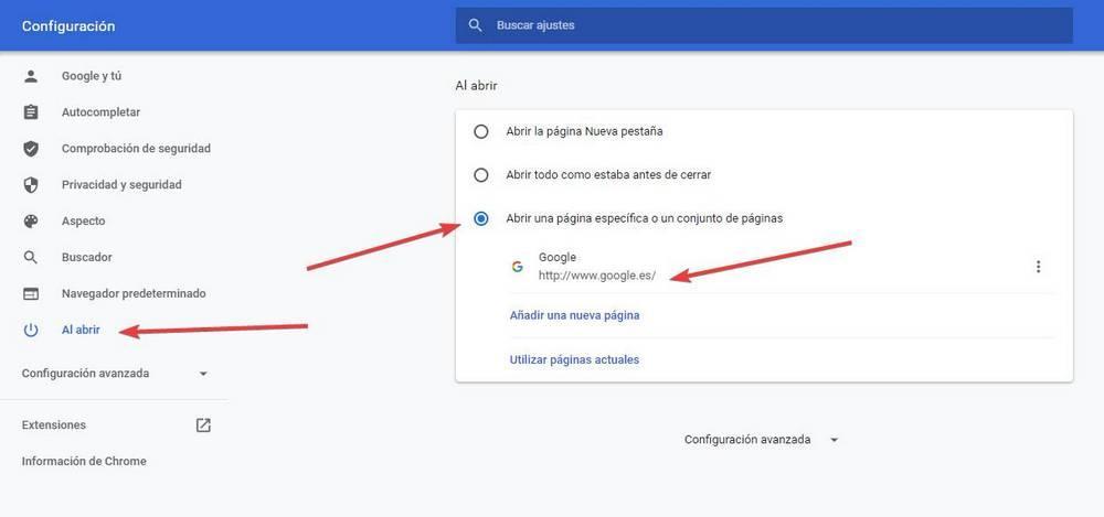 Añadir Google a página de inicio en Chrome