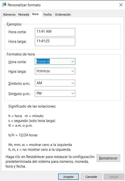 AM PM hora Windows