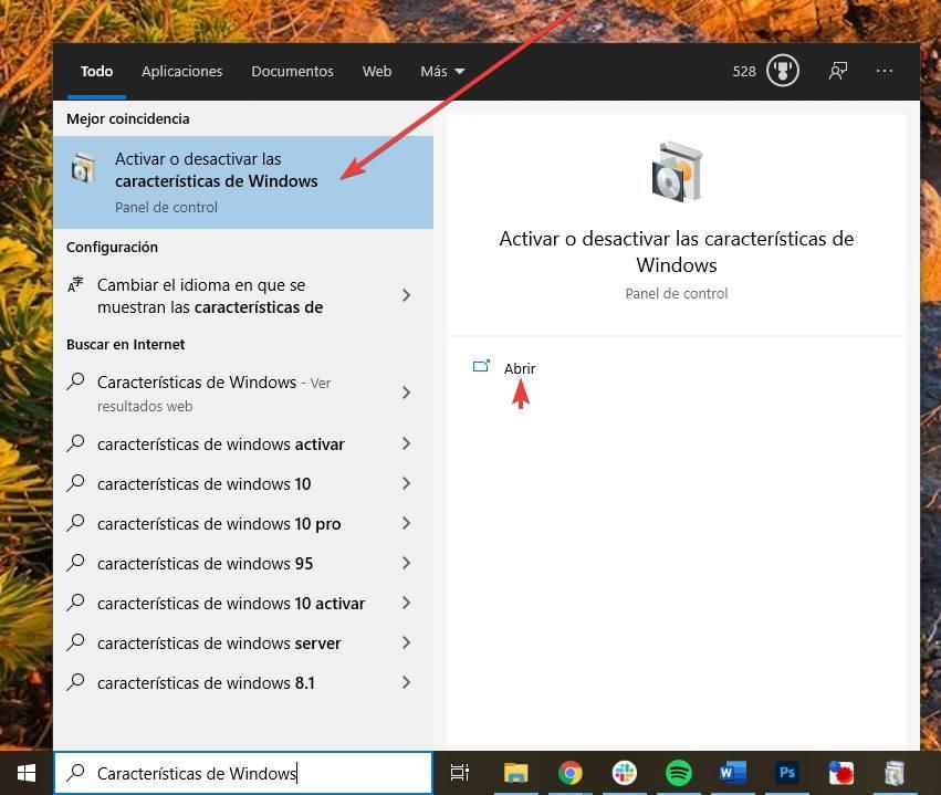Abrir características de Windows 10