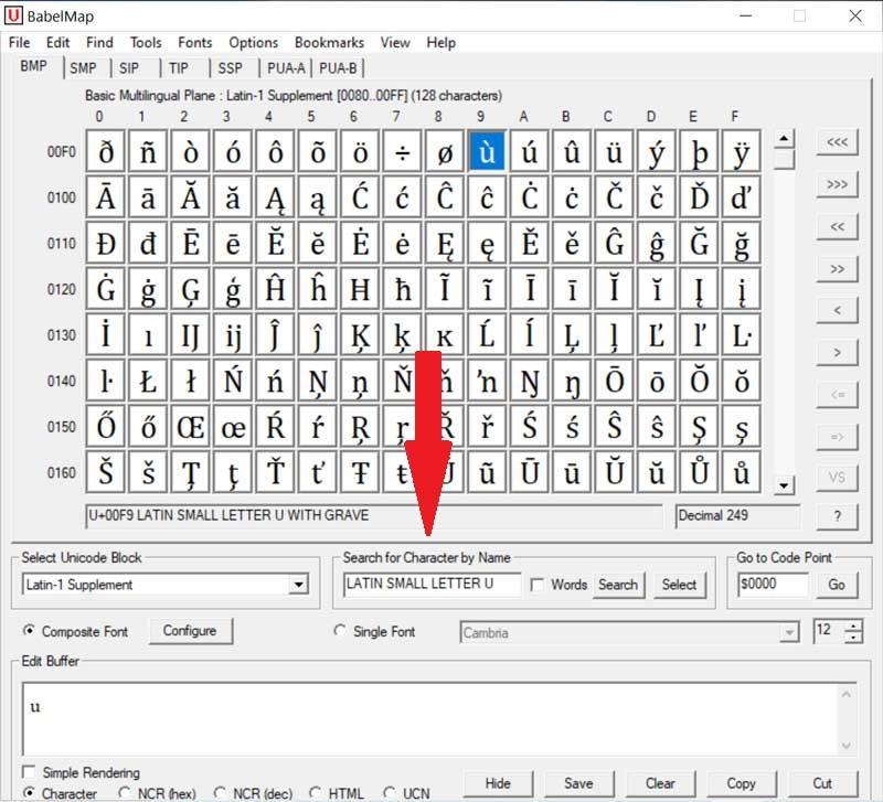 BabelMap buscador de caracteres