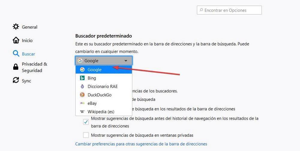 Cambiar motor búsqueda Firefox por Google