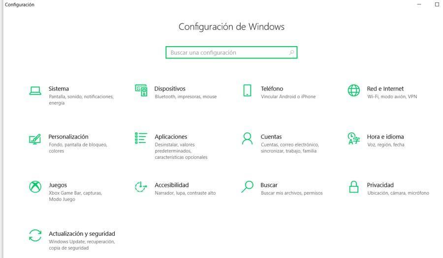 Configuración teclado