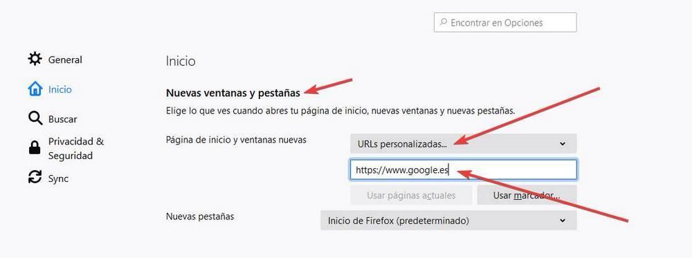 Establecer Google como página por defecto de Firefox