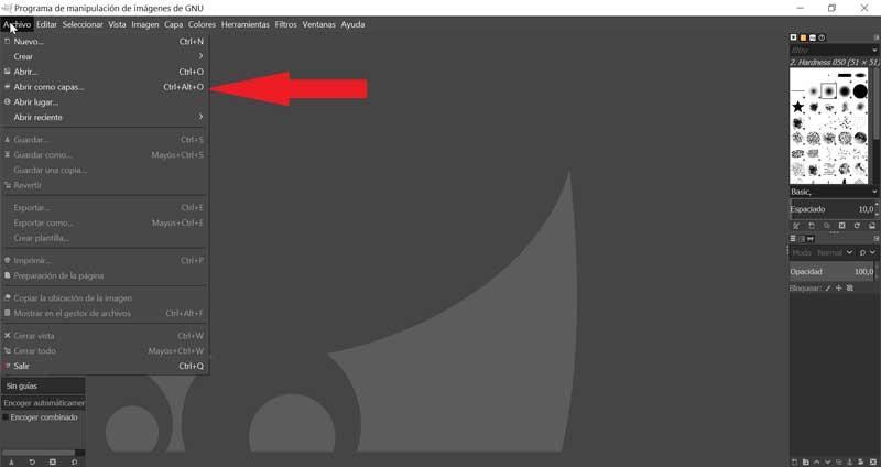 GIMP Abrir como capas