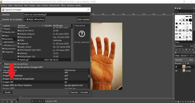 GIMP Guardar como imagen GIF