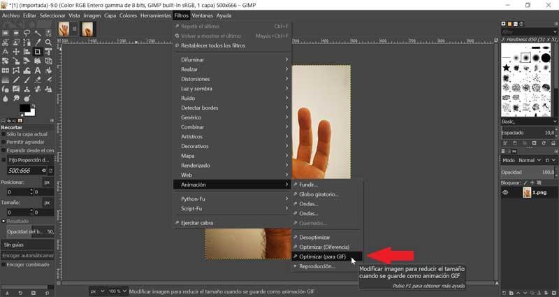 GIMP Optimizar imagen para GIF