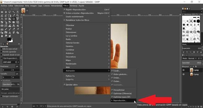 GIMP reproducir el GIF