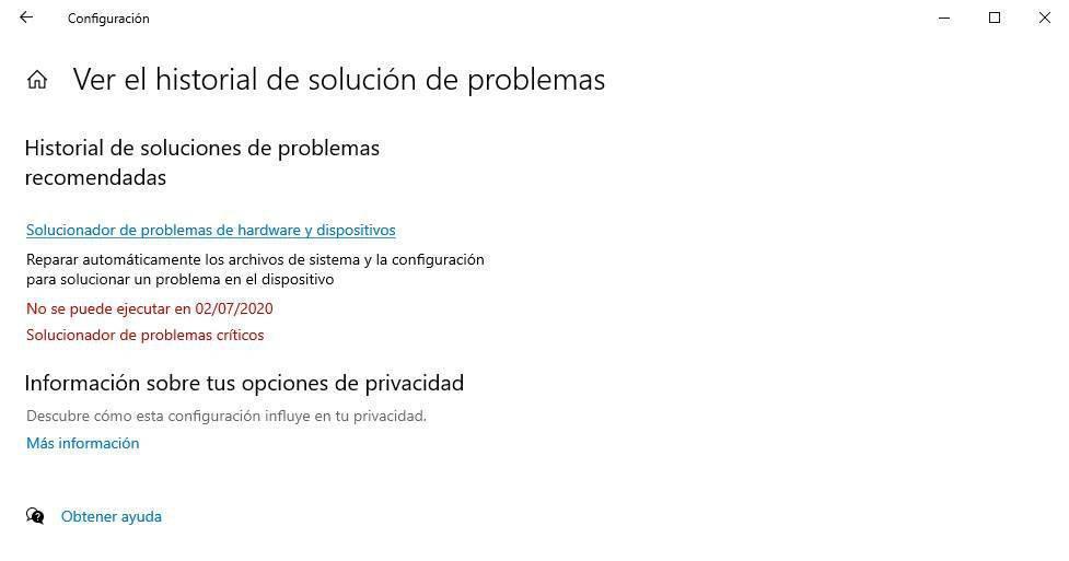 Historial de solución de problemas Windows 10