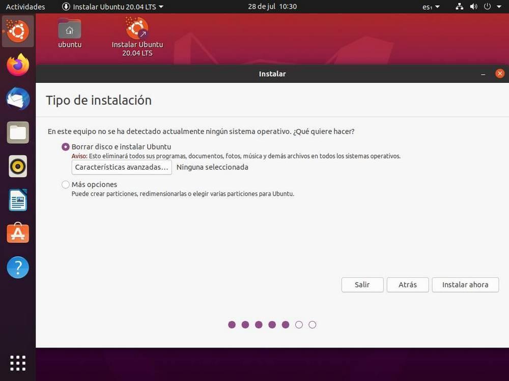 Instalar Ubuntu - Crear particiones 1